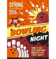 bowling tournament poster template design vector image