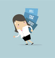 businesswoman carry pile of debt tax and bill vector image vector image