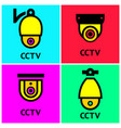 cctv hr video surveillance web cameras set vector image vector image