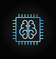 chip with brain creative icon in outline vector image vector image