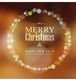 Christmas greeting card with bokeh lights wreath vector image vector image
