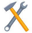 colorful cartoon crossed hammer and wrench vector image vector image