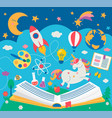 concept of kids education while reading the book vector image vector image
