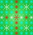 Create snowflake on green pattern background vector image vector image