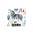 cute zebra flat hand drawn vector image vector image