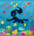 diver girl undersea vector image