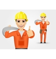 electrician giving thumbs up vector image vector image