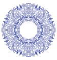 empty round frame gzhel style blue flower mandala vector image vector image