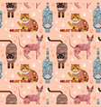 flat domestic cats in funny poses seamless pattern vector image vector image