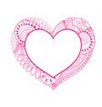 floral doodle pink heart frame in entangle style vector image