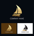 gold yacht boat logo vector image vector image