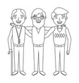 group the three old men embraced happy people vector image