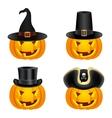 Halloween pumpkins in hats vector image