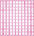 hand painted gingham pink on white vector image