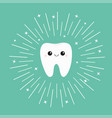 healthy white tooth icon with smiling face vector image vector image