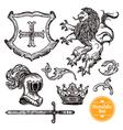 Heraldic Symbols Set Black Doodle Sketch vector image vector image