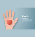 in concept of health insurance template design is vector image