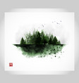 ink wash painting with misty green wild forest on vector image vector image