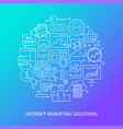 internet marketing solutions banner in line style vector image vector image