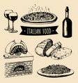 italian cuisine menu hand sketched traditional vector image vector image