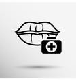 kiss lips lipstick icon passion symbol female vector image vector image