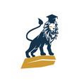 lion hat college logo design symbol isolated vector image
