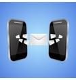 Mail exchange between phones vector image vector image