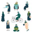muslim woman in hijab set modern arab girls vector image