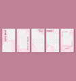 pink stories template cute story post layout vector image