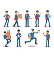 postman characters doing their job set cheerful vector image vector image