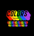 rainbow flag colors font vector image vector image