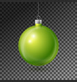 realistic green christmas ball with silver ribbon vector image