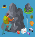 rock climbing hiking isometric equipments vector image vector image