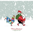 Santa Claus with Rooster symbol of 2017 vector image