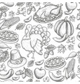 seamless pattern of thanksgiving icons vector image vector image