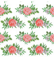 seamless pattern with flowers and greenery vector image vector image