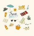set icons sun safety theme beach umbrella mat vector image