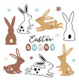 set isolated black and color easter bunny vector image