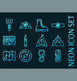 set mountaineering set icons blue neon style vector image