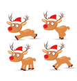 set of deers and hat christmas for design vector image