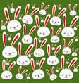 set of sweet and happy easter rabbits for holidays vector image vector image
