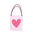 shopping bag gift love heart romantic cartoon vector image vector image