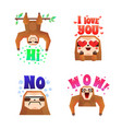 sloth funny cartoon compositions set vector image vector image