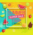 summer super sale banner with fruits vector image vector image