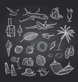 summer travel elements on black chalkboard vector image vector image