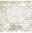 vintage pizza on a gray stone vector image vector image