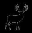 white outline silhouette of reindeer with big vector image vector image