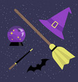 witch set broomstick hat magic ball bat and magic vector image
