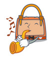 with trumpet hand bag mascot cartoon vector image vector image