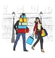 woman and man with shopping bags vector image